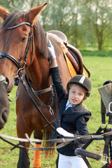Pretty little girl jockey attend and brushing her horse