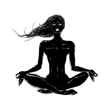 Beautiful girl in yoga pose