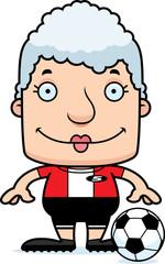 Cartoon Smiling Soccer Player Woman