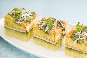 Indian Food Dhokla with Chees