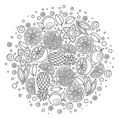 Coloring book page. Adult antistress therapy.