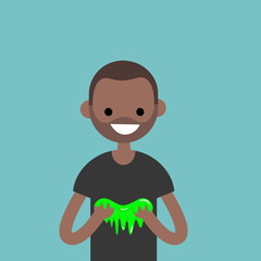 Young black character playing with a slime / flat editable vector illustration, clip art