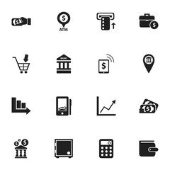 Set Of 16 Editable Banking Icons. Includes Symbols Such As Shopping Pushcart, Automatic Teller Machine, Architecture And More. Can Be Used For Web, Mobile, UI And Infographic Design.