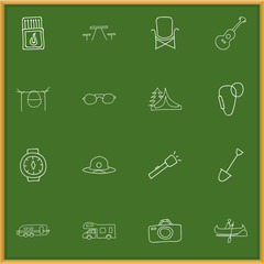 Set Of 16 Editable Travel Icons. Includes Symbols Such As Camp House, Flashlight, Wrist Clock And More. Can Be Used For Web, Mobile, UI And Infographic Design.