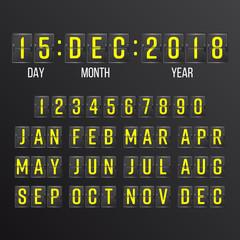 Flip Countdown Timer Vector. Black Flip Scoreboard Digital Calendar. Years, Months, Days.