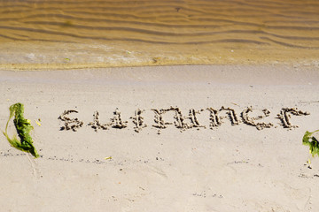 Summer landscape. The inscription summer on the river with green sand beached silt near the river