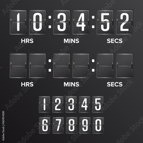 Flip Countdown Timer Vector  Analog Black Scoreboard Digital
