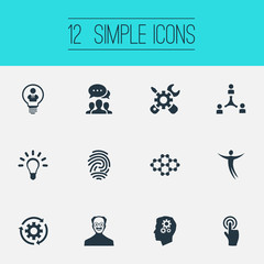 Vector Illustration Set Of Simple Creative Icons. Elements Connection, Renovation, Setting Reload And Other Synonyms Happy, Scholar And Setting.