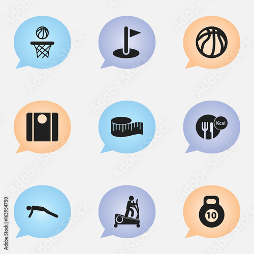 Set Of 9 Editable Fitness Icons Includes Symbols Such As Balance