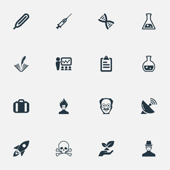Vector Illustration Set Of Simple Knowledge Icons. Elements Checklist, Temperature Measurement, Spaceship And Other Synonyms Feather, Information And Spaceship.