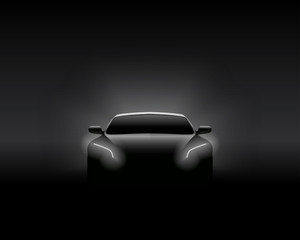 Front View Dark Concept Car Silhouette. Realistic Vector Illustration.