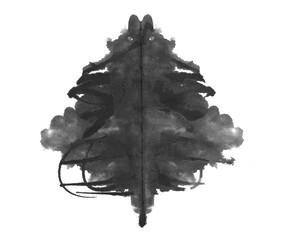 photo Rorschach inkblot test isolated on white background