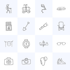 Set Of 16 Editable Travel Icons. Includes Symbols Such As Medical Kit, Wrist Clock, Flying Toy And More. Can Be Used For Web, Mobile, UI And Infographic Design.
