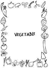 Set of Doodle vegetable Hand drawn Sketch line vector illustration border eps10