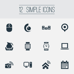 Vector Illustration Set Of Simple Device Icons. Elements Control Device, Internet Of Things, Photography And Other Synonyms Computer, Personal And Pin.