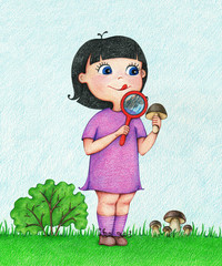 hand drawn illustration of girl in violet dress found mushroom and examines him through a lens on the forest glade in summer by the color pencils