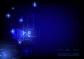 Modern technology background on dark background vector tech background