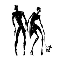 Silhouettes of woman and man.