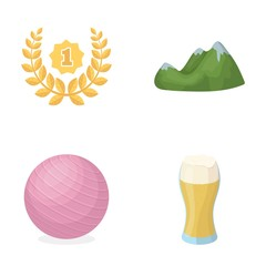 alcohol, sports and other web icon in cartoon style. travel, fitness icons in set collection.