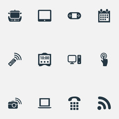 Vector Illustration Set Of Simple Web Icons. Elements Date Block, Notebook, Interactive Display And Other Synonyms Tv, Buttons And Photo.