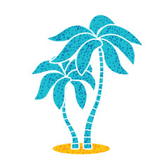 Two palm trees icon isolated.