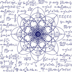 Math scientific vector seamless pattern with geometry figures and handwritten formulas and calculations