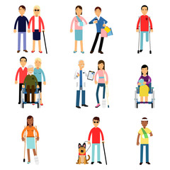 Disabled men and women characters getting medical treatment, health care assistance and accessibility vector Illustrations