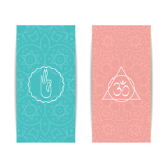 Yoga banner template. Set of vertical pink and turquoise flyers with chakra and mandala symbols. Design for yoga banner, studio, spa, classes, poster, invitation, gift certificate and presentation