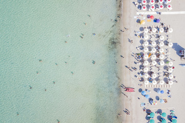 SARDINIA, ITALY, 10 JULY 2017, Aerial view of the amazing beach with colorful umbrella and people who swim. 10 JULY 2017, Sardinia is the second largest island in the Mediterranean Sea