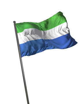 Sierra Leone Flag Waving Isolated on White Background Portrait