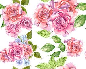 Pink Roses With Leaves Painted In Watercolor Pattern