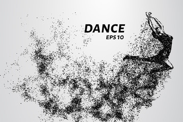 Dance of the particles. Girl dancing in jump. A dancer performs acrobatic elements.