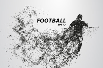 Football of the particles. Silhouette of a football player consists of circles and points. Vector illustration.
