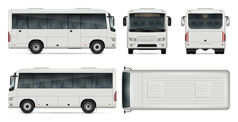 Minibus vector template for car branding and advertising. Isolated city mini bus set on white. All layers and groups well organized for easy editing and recolor. View from side, front, back, top.