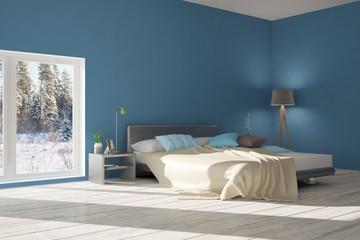 Blue modern bedroom. Scandinavian interior design. 3D illustration