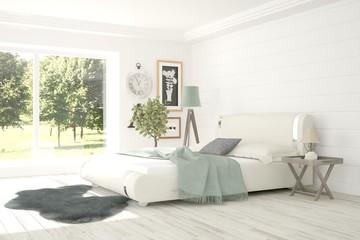 Inspiration of white bedroom with summer landscape in window. Scandinavian interior design. 3D illustration