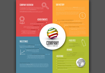 Coloful Four Section Infographic Layout with Circular Logo Area