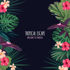 Floral square postcard design with hibiscus flowers, monstera and royal palm leaves. Exotic hawaiian vector background.