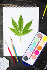 Marijuana leaf and drawing equipment