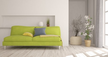 White modern room with green sofa. Scandinavian interior design. 3D illustration