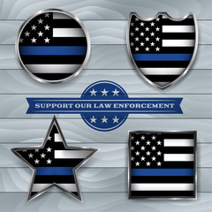 Police Support Flag Badge Illustration