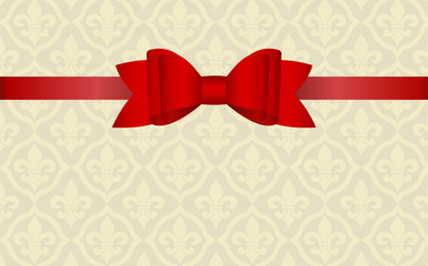 Gift Card With Red Ribbon And A Bow. Gift Voucher Template  with  place for text. Invitation - vector image.