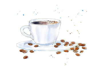 Coffee and grain. Drink painting. Watercolor hand drawn illustration.