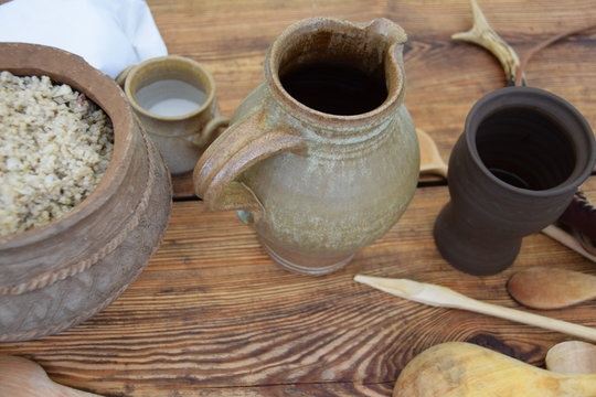Clay pots and medieval pots