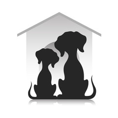 Silhouettes of dogs against the background of a dog lodge, a vector illustration.