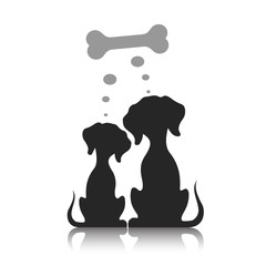Couple of dogs dream of a bone, a vector illustration.
