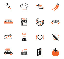 pizzeria icon set