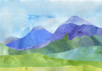 Tuinposter Wit watercolor mountain landscape