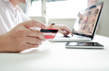 Business online shopping concept. People shopping and pay by credit card.