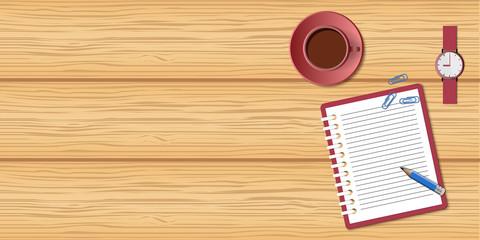 wood mockup with coffee